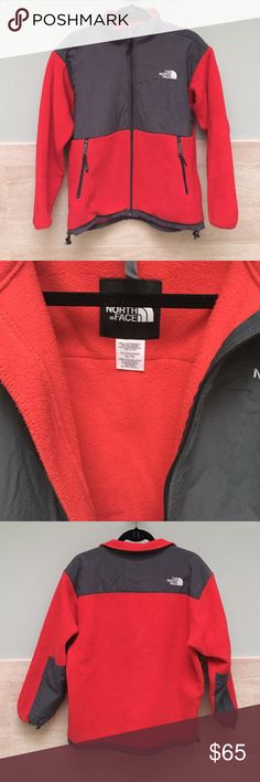 THE NORTH FACE Youth/Junior Fleece Jacket Original THE NORTH FACE red and gray fleece jacket. Youth/Junior size XL, but fits as a regular women's size small/medium. Great light jacket for the fall and beginning of winter. This bold red is beautiful and stands out. Good as new condition. Two pockets and zipper closure. The North Face Jackets & Coats