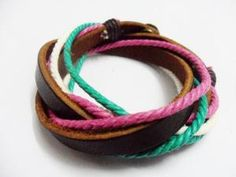 Real Leather and Multicolour Hemp Rope Cuff