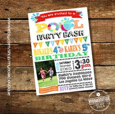 Pool birthday Party invitation summer bash water slide combined joint siblings waterslide photo invite digital printable invitation 13538 by myooakboutique on Etsy