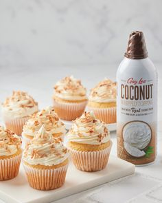 These cupcakes are baking us crazy! Using our Gay Lea Coconut Whipped Topping, you can add a tropical twist to this classic confection🥥 Disclaimer: You may feel like you've been transported to a tropical island🏝️ Whipped Topping, Whipped Cream, Coconut Cream, Mini Cupcakes, Gay, Gluten Free, Tropical, Favorite Recipes, Baking