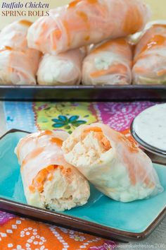Buffalo Chicken Spring Rolls are a spicy twist on traditional rice paper rolls that make an easy gluten free appetizer or light dinner recipe. Recipe here! Gluten Free Appetizers, Appetizer Recipes, Snack Recipes, Dinner Recipes, Buffalo Recipe, Cooking Recipes, Healthy Recipes, Healthy Foods, Bariatric Recipes