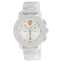 Movado Bold Chronograph White Ceramic Ladies Watch 3600187