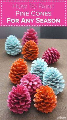 Paint pine cones any color for any season! It's no longer reserved for winter de… Paint pine cones any color for any season! It's no longer reserved for winter decor, you can use pine cones to spruce up your home… Continue Reading → Holiday Crafts, Fun Crafts, Diy And Crafts, Arts And Crafts, Pine Cone Crafts For Kids, Creative Crafts, Preschool Crafts, Homemade Crafts, Thanksgiving Crafts