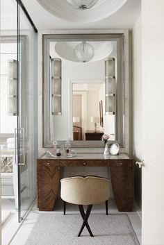 Deco detailing. Ever since I was little, I have always wanted a vanity.  This space is so amazing!