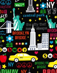 New York City Broadway Times Squares Taxi Cab by Timeless Treasures