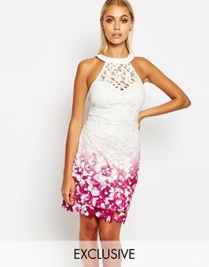 Lipsy lace print bodycon dress in scuba