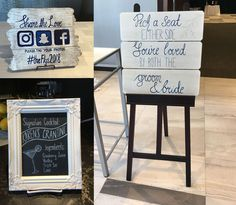 signs for Jenna & Eric's wedding. acrylic on plywood (left: 30 x 30 cm, right: 1 x 1 m) and a small chalkboard design :)