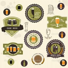 Beer badges and labels in vintage style #design #vector #eps Download: http://depositphotos.com/11234699/stock-illustration-beer-badges-and-labels-in.html?ref=5747528