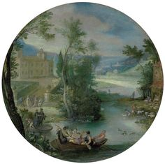 Paul Bril (Antwerp c. 1554-1626 Rome), Autumn: A wooded landscape with apples being harvested in the foreground, a villa and lake beyond; and Spring: Elegantly dressed figures playing music in a rowboat in the foreground, with shepherds watering a flock of sheep and other figures merrymaking, a villa and town beyond, the former signed and dated 'P · BRILL 1598' (lower left); the latter signed and dated 'P · BRIL 1598' (lower center), oil on copper, circular, 5 3/8 in. (13.6 cm.) diameter, a…
