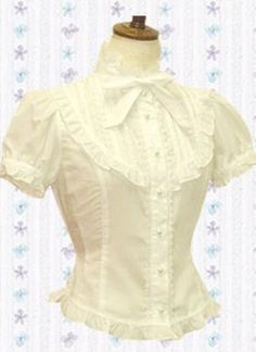Super Cute Cotton Lolita Blouse with Puff Sleeves