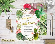 Watercolor Desert Chic Succulent, Cactus Wreath Baby Shower, Bridal Shower, Birthday Party Invitation (Floral, Gold, Elegant) DIGITAL FILE by montrosedesigns on Etsy