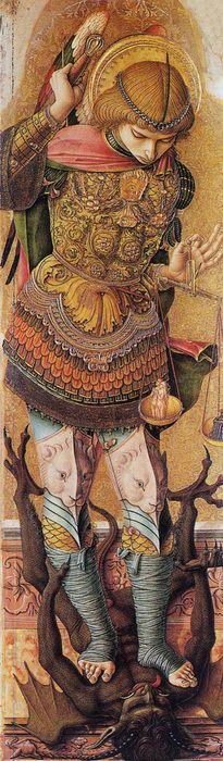 makehasteslowly:  Carlo CrivelliSaint Michael1476Tempera on panelThe National Gallery, London