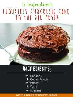 Airfryer Recipes | 5 ingredient flourless chocolate cake in the Air fryer recipe from RecipeThis.com