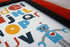 Robot Wall Print 8 x 10 Alphabet  Robot by Mariapalito on Etsy,