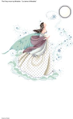 The fairy moon Fantasy Cross Stitch, Cross Stitch Fairy, Cross Stitch Angels, Cross Stitch Letters, Counted Cross Stitch Patterns, Cross Stitch Charts, Cross Stitch Designs, Cross Stitch Embroidery, Stitch And Angel