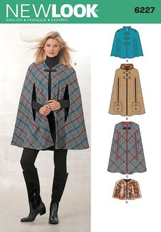 """Simplicity 6227 Size A X-Small/Small/Medium/Large/X-Large """"Misses' Cape in Three Lengths"""" New Look Sewing Pattern"""