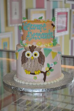 Owl Baby Shower Cake Girly Soft Colors www.LeahsSweetTreats.com