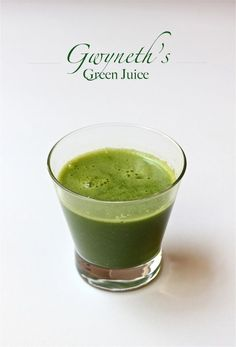 Gwyneth Paltrow's green juice~ tastes like lemonade! Juice or Vitamixer (add organic: 1 green apple (remove seeds), 5-8 kale leaves (remove stem), 1 lemon (remove skin), 1/2 c. water, Optional: mint and/or ginger, pour over ice...Enjoy