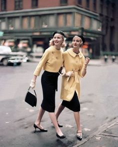 1950s fashion.  I have shoes that look just like the girl's in the yellow longer coat (the t-strap)