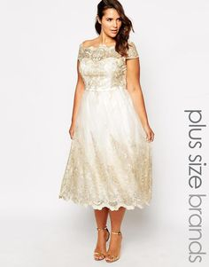 Chi Chi Plus | Chi Chi London Plus Metallic Lace Cap Sleeve Midi Prom Dress at ASOS