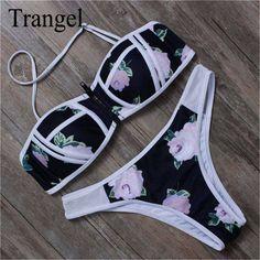 c734285baea Trangel sexy women bandeau bikini bathing suit floral push up padded  swimsuit summer beachwear swimwear brazilian