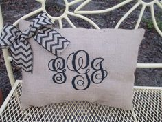 Monogrammed Burlap Pillow-- indoor/outdoor personalized pillow with chevron bow--perfect wedding gift/bridal shower/housewarming gift on Etsy, $25.00