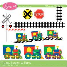 Digital Clip Art Choo-choo Trains, Tracks, Signs. $5.00, via Etsy.