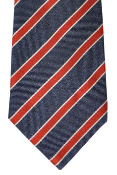 Kiton Sevenfold Tie Navy Red White Stripes