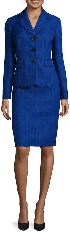 LE SUIT Le Suit 2-pc. Tweed Skirt Suit - Keep your formal dressing game on point with our classy 2-piece set of structured jacket and skirt. includes long-sleeve jacket and skirt jacket: notch collar, 3 buttons, 24 length skirt: back zip, 24 length polyester dry clean only imported