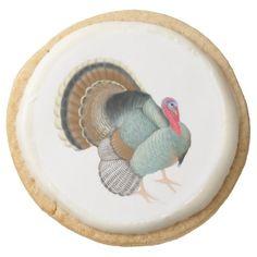 Thanksgiving Tom Turkey Shortbread Cookies Round Sugar Cookie  #thanksgiving  #food
