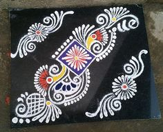Make these border rangoli designs at the corners and at the entrance of your home. Decorate your house with these pretty border rangoli designs for Diwali. Rangoli Side Designs, Rangoli Designs Latest, Rangoli Borders, Free Hand Rangoli Design, Small Rangoli Design, Rangoli Patterns, Rangoli Ideas, Rangoli Designs Diwali, Rangoli Designs With Dots