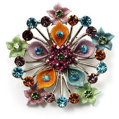 $20.64 Brighten up any outfit with this Multicoloured Glittering Diamante Floral Brooch. Featuring a flower shaped design, crafted in rhodium plated finish and decorated with with mulicoloured crystals, offering a unique style. The brooch measures about 5cm in diameter and secures with a flag pin/revolver clasp. Wear it on your lapel, around your neck with a ribbon, on your hat, on your sweater and even on your evening clutch...