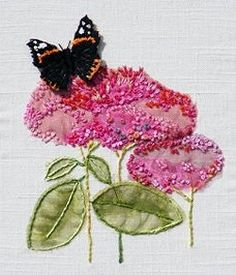 Red Admiral Butterfly on Sedum Textile Embroidery Kit 0132