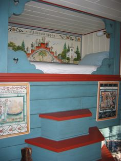 Scandinavian cupboard bed in The historic home of Painter Karen Jenson in Milan Minnesota. Alcove Bed, Bed Nook, Cozy Nook, Swedish Cottage, Swedish House, Cottage Chic, Swedish Style, Swedish Design, Swedish Decor