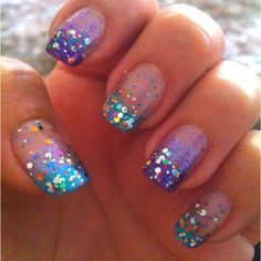turquoise and purple glitter french manicure