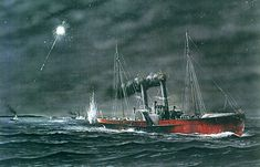 """Modern conjectural illustration of sidewheel blockade runner """"Owl"""" running in to Wilmington on a moonless night."""