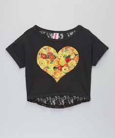 cc337135f6abe Black Floral Heart Lace-Back Crop Top - Toddler