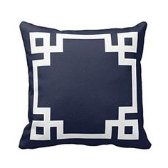 Navy Blue and White Greek Key Border Pillows Personalized…