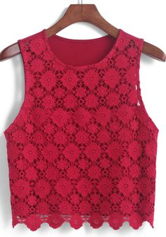 Shop Lace Crop Tank Top at ROMWE, discover more fashion styles online. Red Tank Tops, Lace Crop Tops, Lace Tank, Crop Shirt, Cropped Tank Top, Crop Tank, Look Legging, Red Lace Top, Blouse Designs