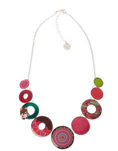 "Desigual Necklace ""Seduccio"", 48G5699 7005. Stunning metal necklace with multi coloured circles in different design. Ideal addition to your Desigual outfit."