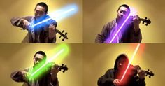 YouTube user Jeffrey Ding He uses lightsabers in a violin cover of Star Wars' 'The Force Theme'.