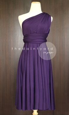 Short Straight Hem Grape Bridesmaid Convertible by thedaintyard, $34.00