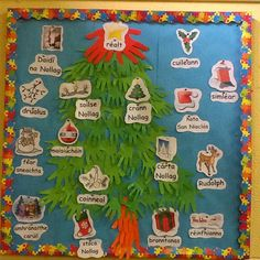 Crann Nollaig Display Girls School, Art School, School Stuff, Irish Christmas, Christmas Art, Childcare Activities, Irish Language, 5th Class, School Displays