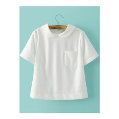SheIn(sheinside) White Peter Pan Collar Zipper Back Short Sleeve... ($19) ❤ liked on Polyvore featuring tops, blouses, white, embellished blouse, short sleeve peter pan blouse, peter pan collar top, white peter pan blouse and embellished tops