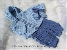 "Hooded Pram Suit 16-22"" doll/newborn/0-3m baby-knitting pattern, pram suit, baby, doll, reborn, babydoll handknit designs"