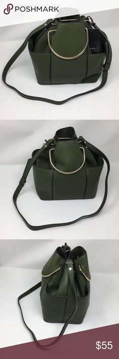 NWT Zara green bucket bag See pics for details and measurements Zara Bags