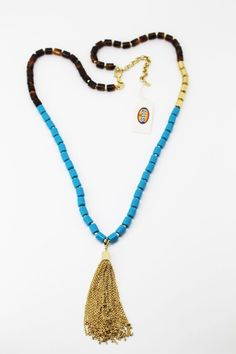 Fossil New Gold-Tone Blue,Tortoise Bead w/ Removable Chain Tassel Long Necklace  #Fossil #Chain