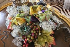 Velvet fruit and lace leaves for coffee table centerpiece