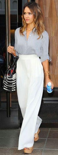 stripe shirt + white maxi