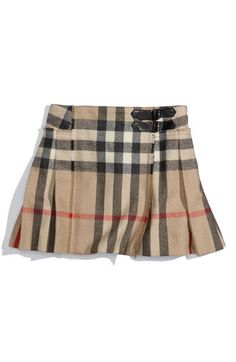 Love this little Burberry kilt on my littlest daughter now and loved it on my eldest daughter when she fit it! I love Burberry what can I say! Burberry Skirt, Burberry Outfit, Look Fashion, Kids Fashion, Autumn Fashion, Tartan, Plaid, Ribbed Sweater, Black Tights